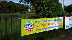 Banner at Penymynydd roundabout