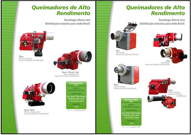 Queimadores de Alto Rendimento, a Óleo, ou Dual Diesel/Gás