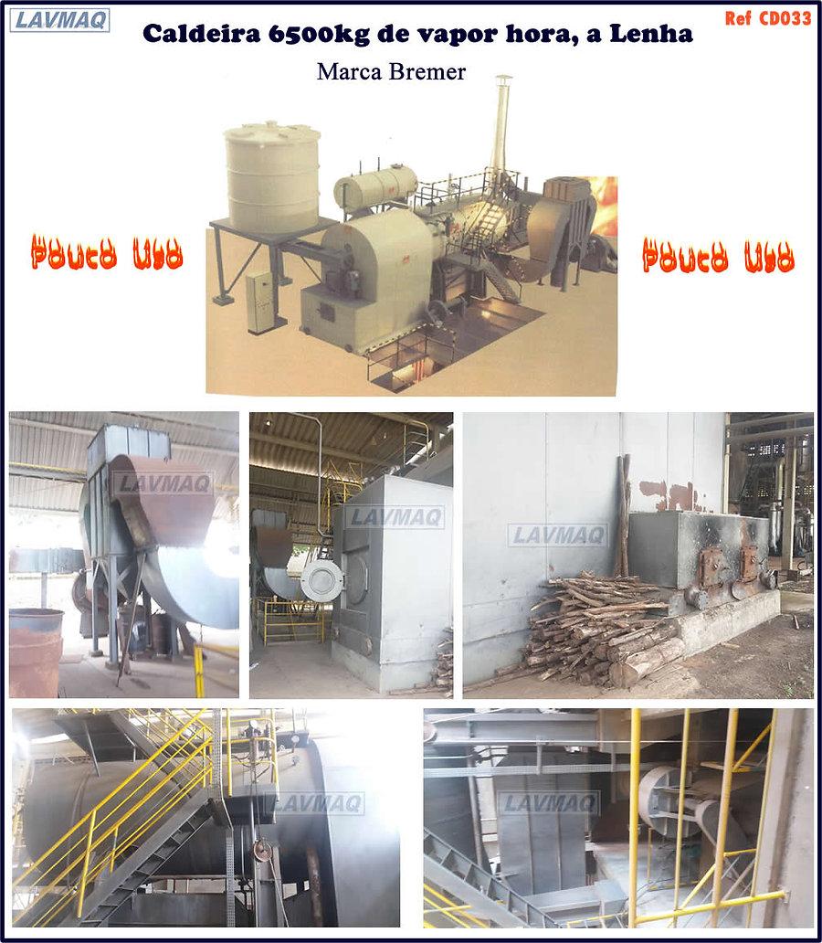 caldeira usada 6500kg de vapor hora a lenha marca Bremer para lavanderia industrial