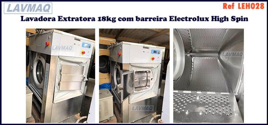 ref LEH028 lavadora extratora hospitalar usada 18kg para lavanderia industrial