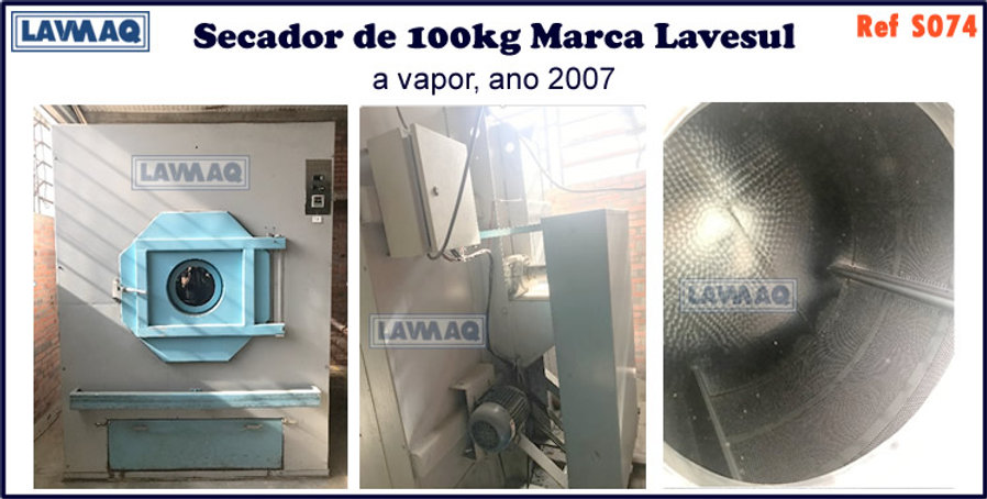 ref S074 secador 100kg a vapor marca lavesul