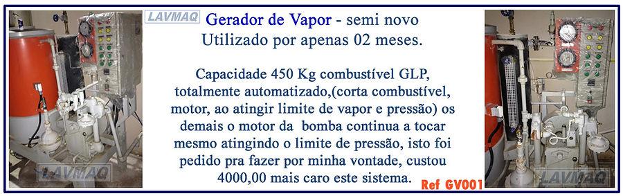 Gerador de vapor usado capacidade 450kg  a gás para lavanderia industrial LAVMAQ