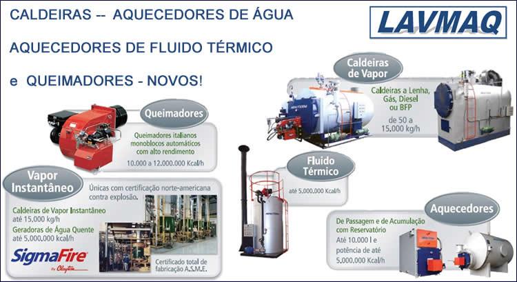 Caldeiras, Aquecedores de água, Aquecedores de fluido térmico, Queimadores, Caldeira Novas