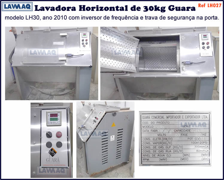 ref LH027 lavadora horizontal 30kg Guara