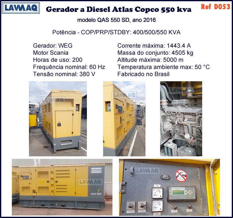 ref D053 gerador a diesel Atlas Copco 550