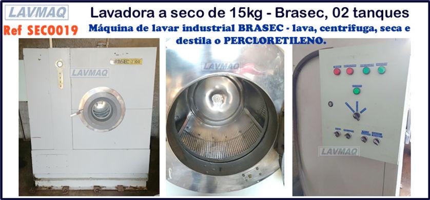 ref SECO019 lavadora a seco usada 15kg marca Brasec para lavanderia industrial