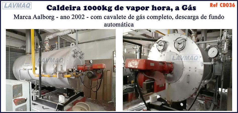 caldeira usada de 1000kg h a gas Aalborg
