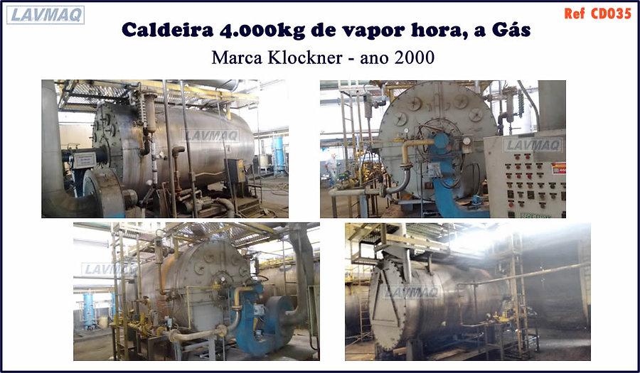 caldeira usada de 4 000kg h a gas Klockner