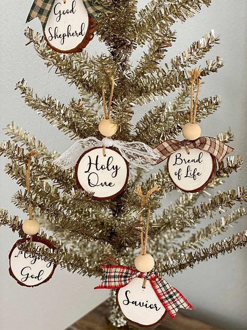 Names of Jesus Wood Slice Ornaments
