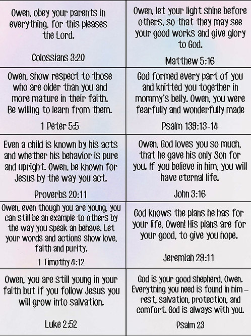 Personalized Scripture Cards (Add On for Prayer and Your Children Devo)