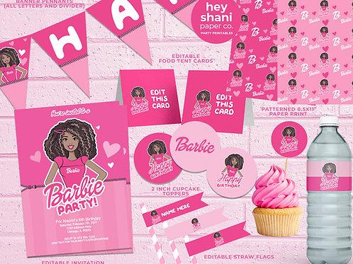 Black Barbie Party Printables   Black Barbie PartyDecor
