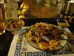 Steak, Shrimp and Vegetables