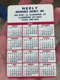 Neely Calendar - 1988