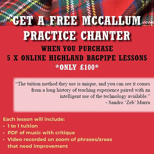 5 x Highland Bagpipe Lesson & Free Practice Chanter