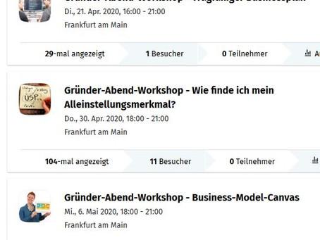 Abend-Workshop für alle Gründer*innen und Startups zu verschiedenen Themen