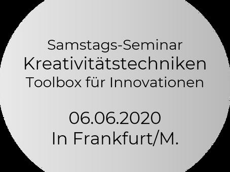 "Jetzt neu! Samstag-Seminar ""Kreativitätstechniken - Toolbox für Innovationen"""