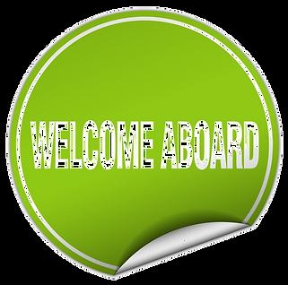 welcome-aboard-round-green-sticker-isola