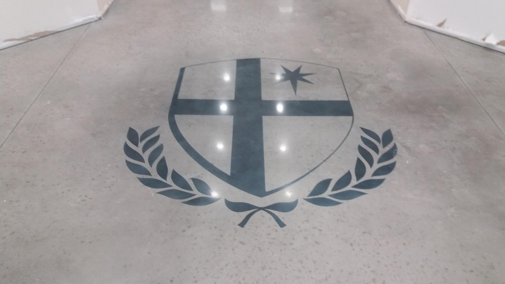 St. John Neumann Academy, Logo Stained & Polished - Polished Concrete Professionals