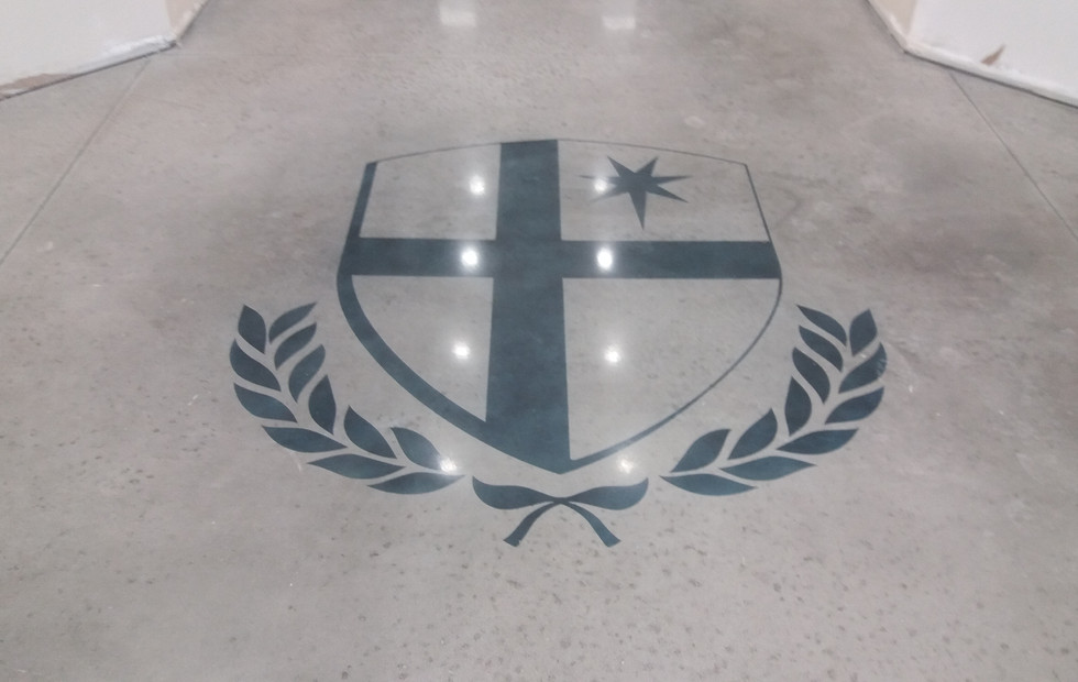 St. John Neumann Academy, Polished Concrete Floor and Stained Logo