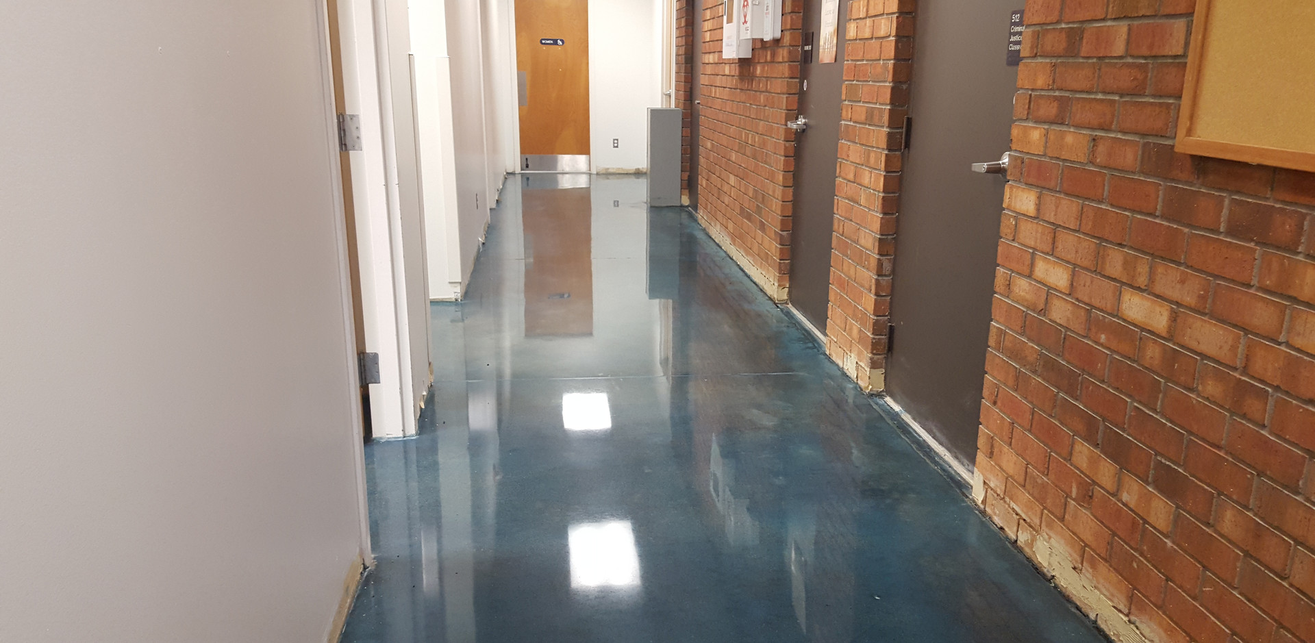 Montgomery Community College, Stained and Hallway Polished - Polished Concrete Professionals