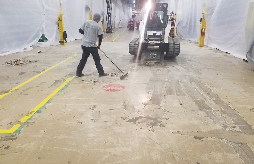 Plastics Recycling Facility, Removing Existing Flooring Surface