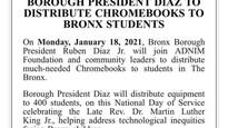 Breaking News - Bronx Borough President to distribute Chromebook