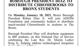 Breaking News - Bronx Borough President to distribute Chromebook
