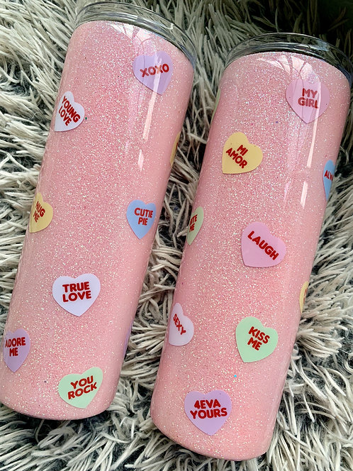 Candy Hearts Glitter Tumbler *RTS*
