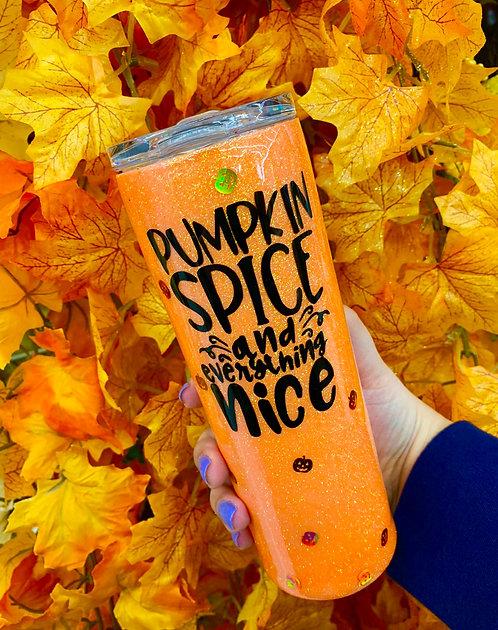 Pumpkin Spice Glitter Tumbler