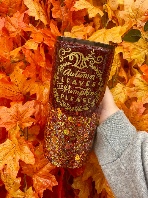 Autumn Leaves And Pumpkins Please Glitter Tumbler