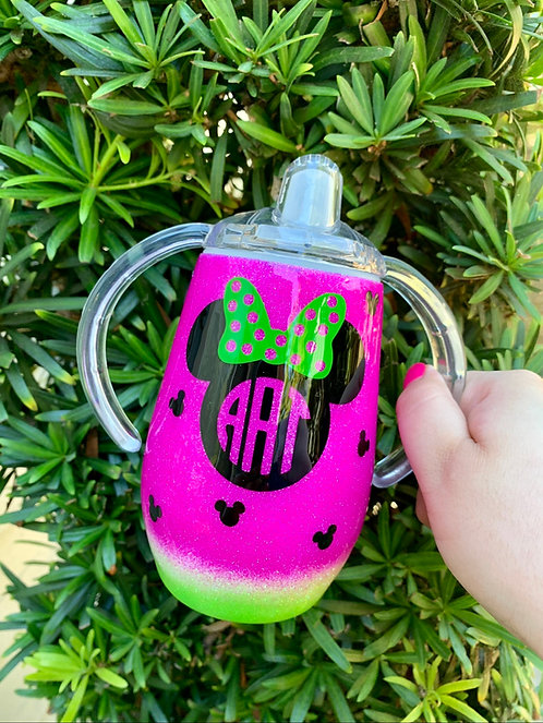 Watermelon Sippy Glitter Tumbler