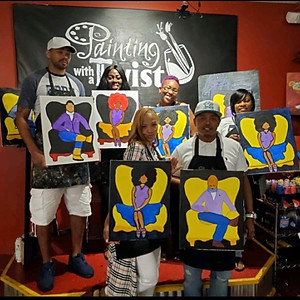 Young Adults painting with a twist