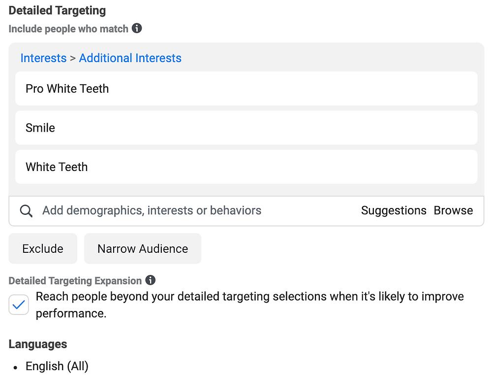 detailed targeting interests facebook Evie Studios