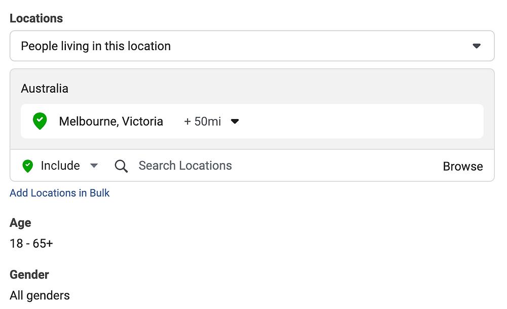 Location demographic facebook Evie Studios