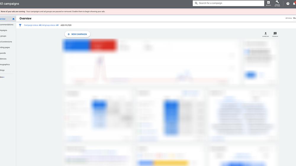 google ad words dashboard Evie Studios