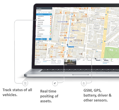Live dashboard and map view of vehicle tracking system