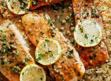 Grilled Salmon Picatta with Rice Pilaf