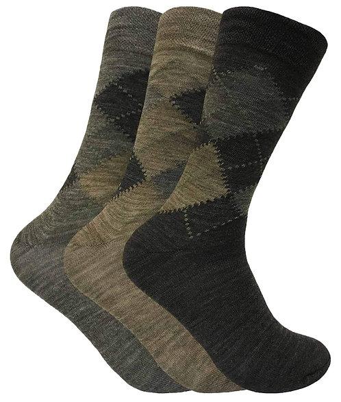 3 Pairs Mens Lambs Wool Blend Socks