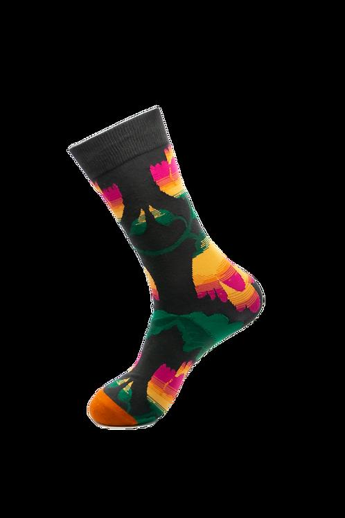 Adults- Crocus Flower Patterned Cotton Socks