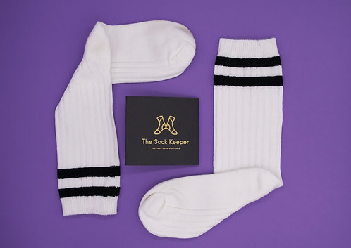Children's - Plain Socks with Fashion Stripe