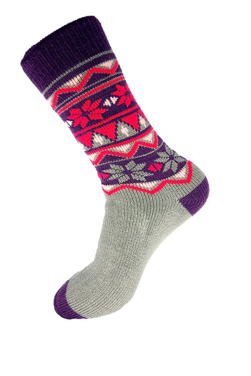 Knee High Thermal Socks -Purple and Red