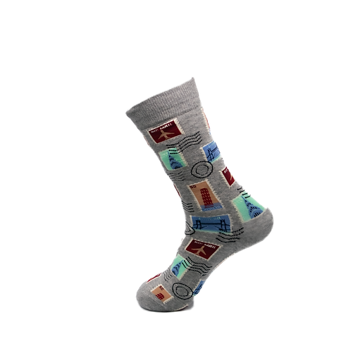 Adults - Holiday Stamps Cotton Socks