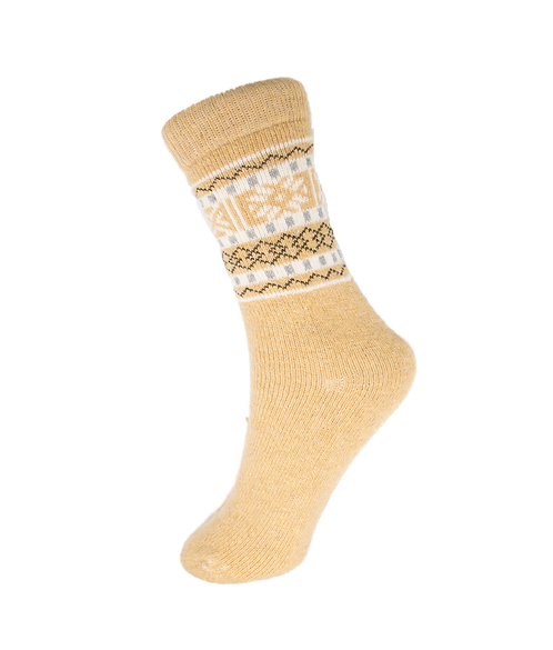 Knitted Brown Wool Blend Boot Socks