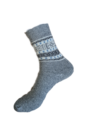 Knitted Grey Wool Blend Boot Socks