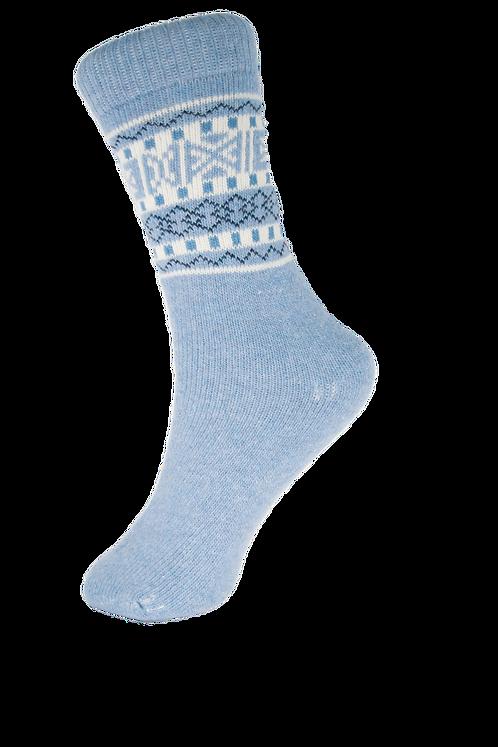 Knitted Blue Wool Blend Boot Socks