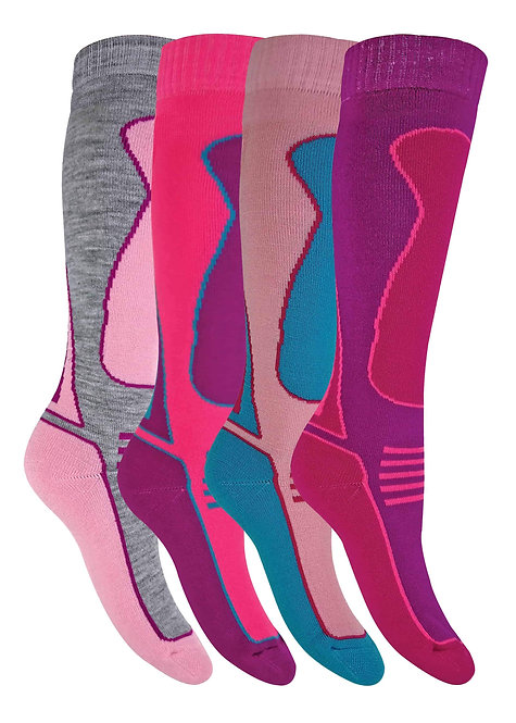 4 Pairs Knee High Wool Blend Ski Socks