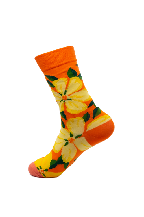 Adults-Orange Flower Garden Cotton Socks