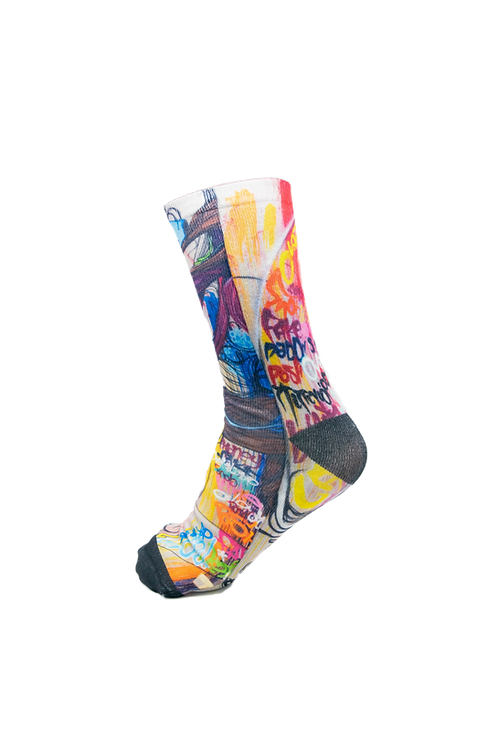 Adults - Graffiti Face Printed Loafer Socks
