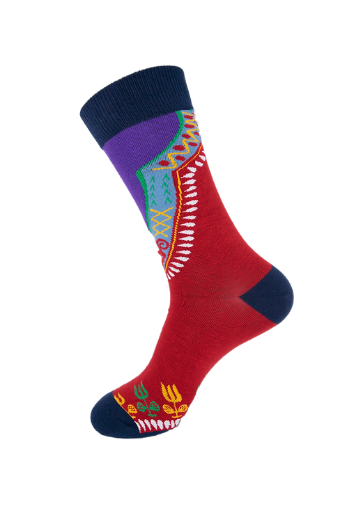 Adults- African Angelina Patterned Cotton Rich Socks