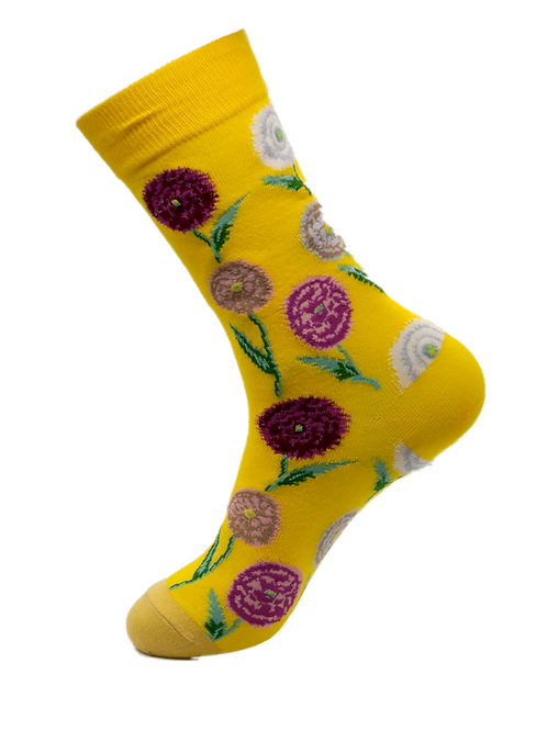 Adults - Purple Dandelion Cotton Socks